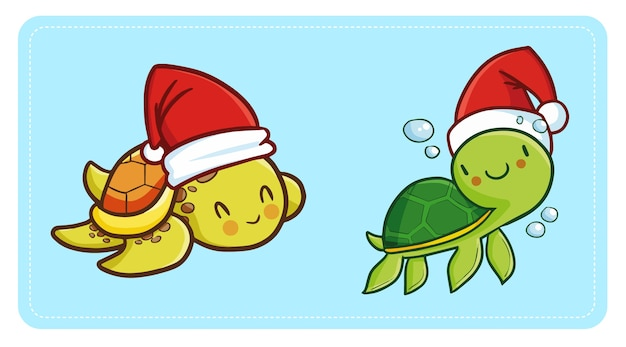 Cute and funny kawaii baby turtle wearing santa's hat for christmas swimming and smiling