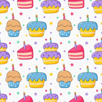 Cute funny kawaii birthday cake seamless pattern. food party.