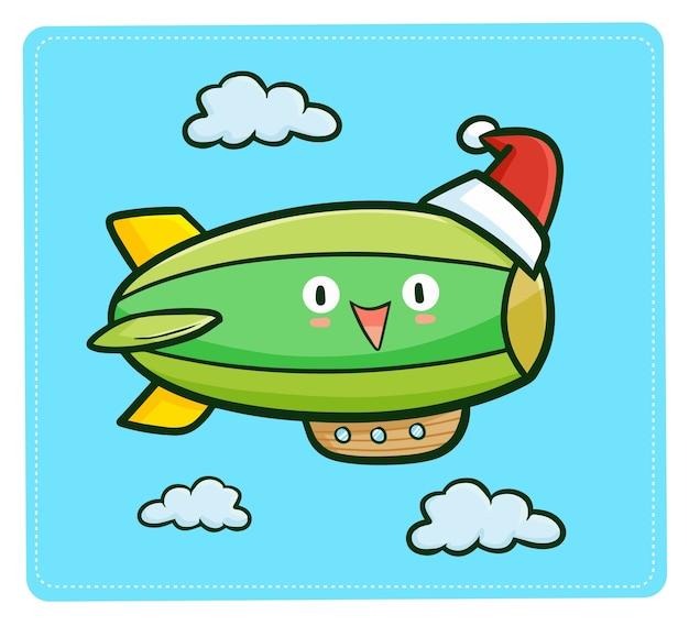 Cute and funny kawaii green big air balloon wearing santa's hat for christmas
