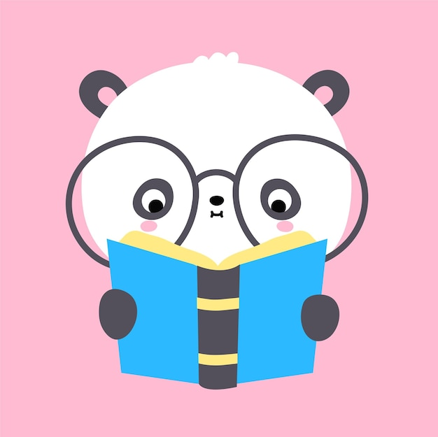 Cute funny kawaii little panda bear read book. vector flat cartoon kawaii character illustration icon. cartoon cute panda bear reading, read book,childish kids literature character icon concept