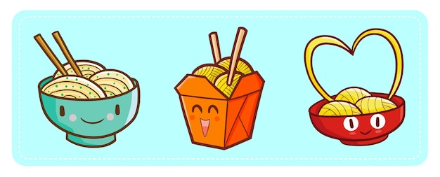Cute and funny kawaii noodles happy characters