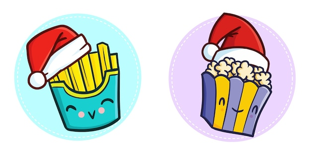 Cute funny kawaii popcorn and french fries character wearing santa's hat for christmas