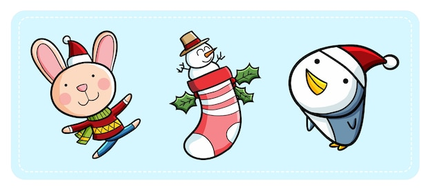 Cute funny kawaii rabbit and penguin wearing santa's hat for christmas
