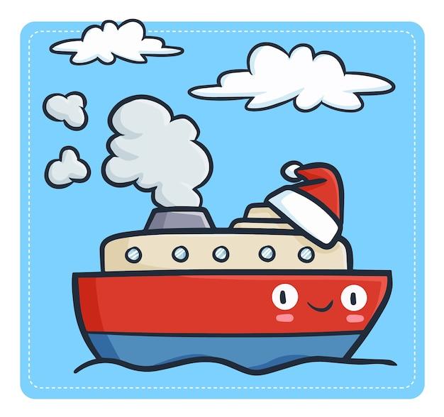 Cute and funny kawaii sailing cruise ship mascot wearing santa's hat for christmas