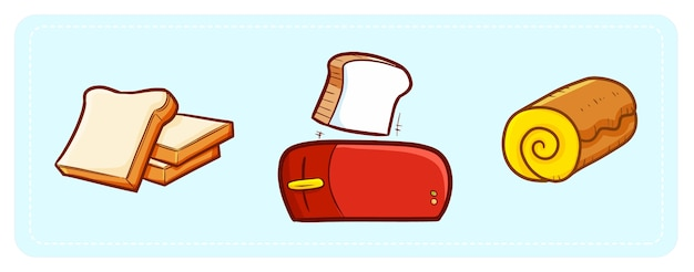 Cute and funny kawaii three breads for everyday breakfast