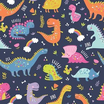 귀여운 재미있는 아이 공룡 패턴.