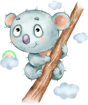 Cute funny koala sitting on a tree painted in watercolor
