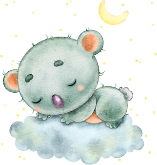 Cute funny koala sleeping on a cloud under the stars and the moon painted in watercolor