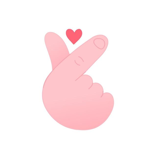 귀여운 재미 한국 사랑 제스처 symbol.vector 손으로 그린 만화 그림 아이콘입니다. 흰색 배경에 고립. 손가락 사랑, 한국 심장 제스처 기호 만화 개념