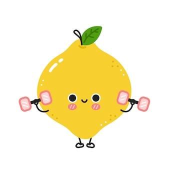 Симпатичный забавный лимончик делает тренажерный зал с гантелями. вектор плоская линия мультяшныйа каваи символ иллюстрации значок. изолированные на белом фоне. концепция характера тренировки лимона