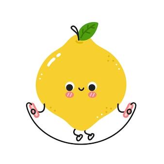 Милый забавный лимон делает тренажерный зал со скакалкой