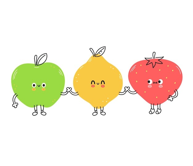 Cute funny lemon,strawberry and apple fruits. vector hand drawn cartoon kawaii doodle character illustration icon. lemon,strawberry and apple cartoon character concept. isolated on white background