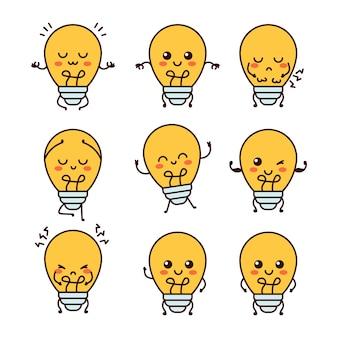 Симпатичные смешные лампочки лампа характер вектор плоская линия мультяшный каваи персонаж иллюстрации значок