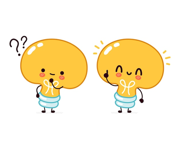 Cute funny light bulb with question mark and idea