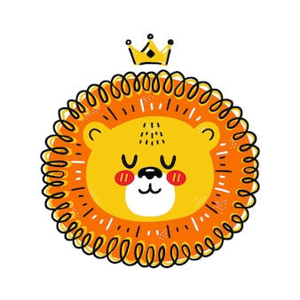Cute funny lion with crown