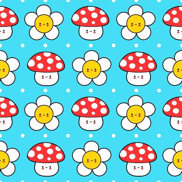 Милый забавный маленький ребенок мухомор гриб и цветок бесшовные модели. вектор рисованной мультяшный каваи символ иллюстрации значок. цветок ромашки, мухомор гриб бесшовные модели мультфильм концепции