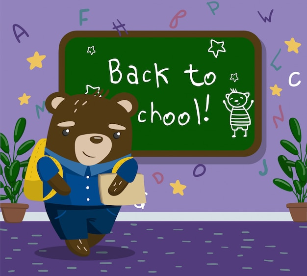 Cute funny little bear animal student in school uniform standing next to blackboard in the calssroom, back to school concept   illustration