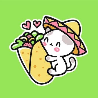 Милый забавный котенок в мексиканской шляпе обнимает буррито