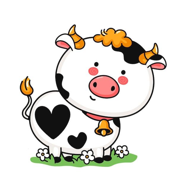 Cute funny little cow on meadow