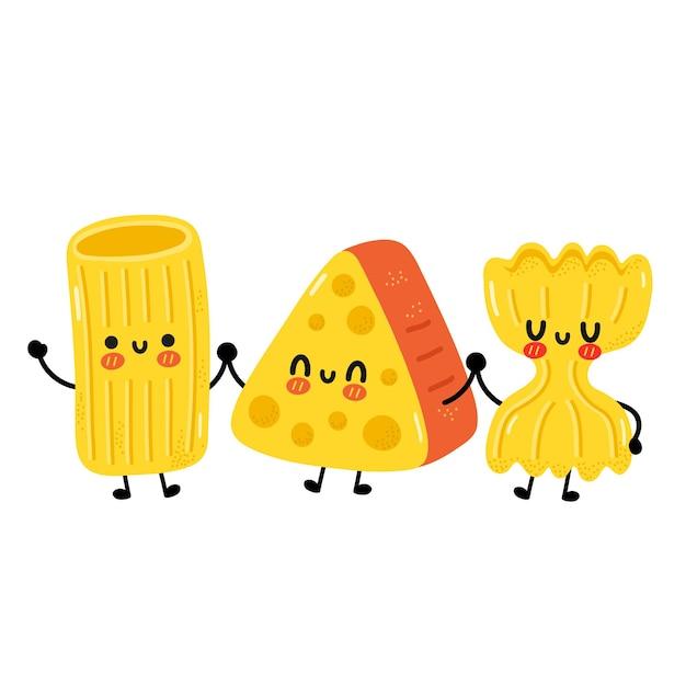 Симпатичные смешные макароны, макароны, лапша, персонаж. векторная иллюстрация персонажей мультфильма каваи. изолированные на белом фоне. симпатичные макароны, концепция талисмана из мультфильма сыра