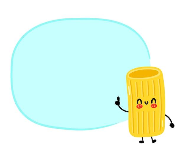 텍스트 상자가 있는 귀엽고 재미있는 마카로니 파스타 국수 캐릭터. 벡터 손으로 그린 만화 귀여운 캐릭터 그림입니다. 흰색 배경에 고립. 귀여운 마카로니 국수 파스타 만화 마스코트 개념