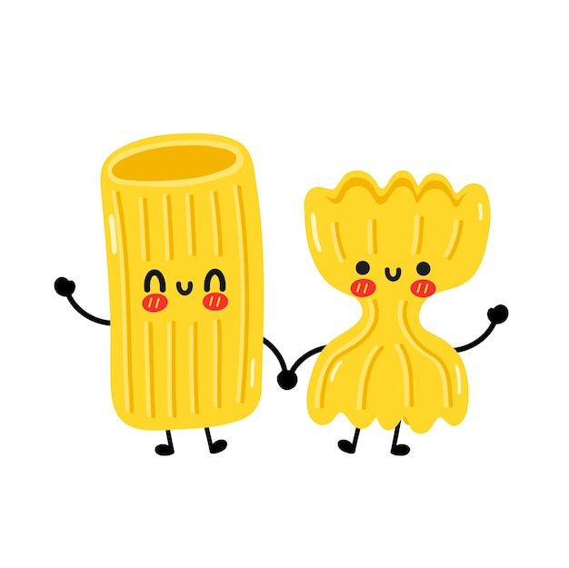 Cute funny macaroni pasta noodles couple character. vector hand drawn cartoon kawaii character illustration icon. isolated on white background. cute macaroni noodles pasta cartoon mascot concept