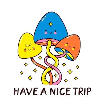 Cute funny magic mushrooms character
