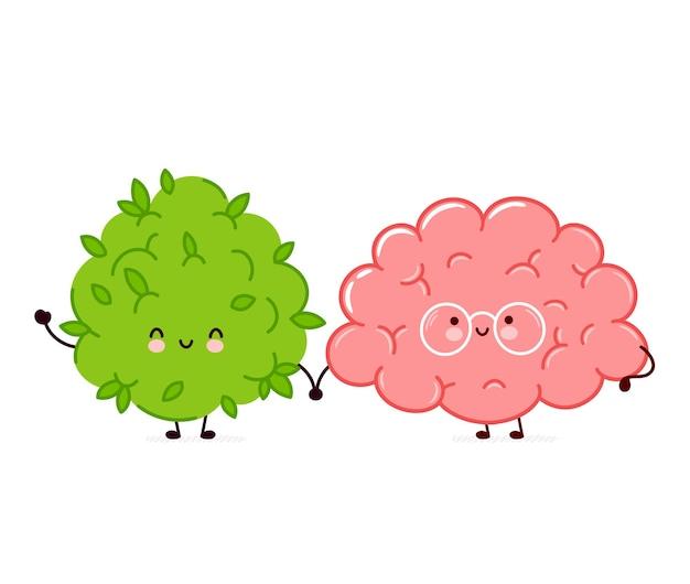 かわいい面白いマリファナ雑草のつぼみと脳器官のキャラクター。