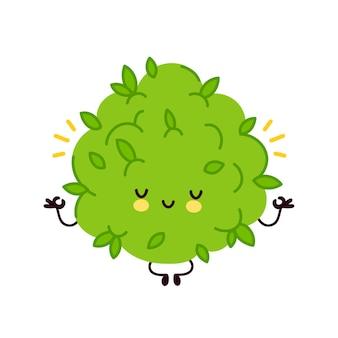 かわいい面白いマリファナ雑草のつぼみのキャラクターは、ヨガのポーズで瞑想します