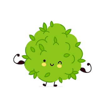 かわいい面白いマリファナ雑草のつぼみのキャラクターは筋肉を示しています
