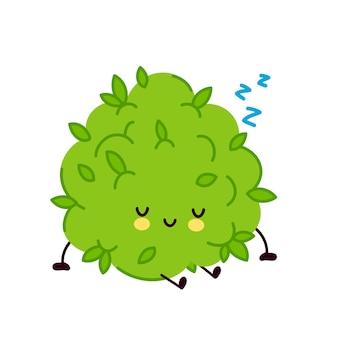 かわいい面白いマリファナ雑草のつぼみのキャラクターの睡眠。