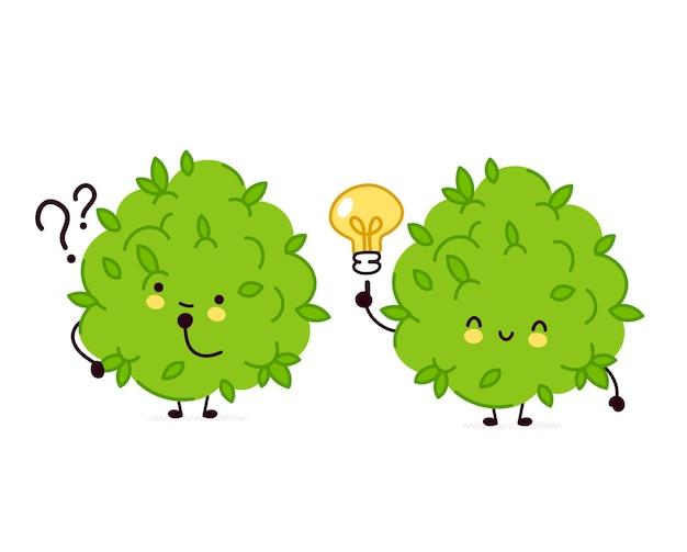 疑問符とアイデア電球が付いているかわいい面白いマリファナ雑草のつぼみのキャラクター。