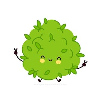 かわいい面白いマリファナ雑草のつぼみのキャラクター