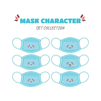 かわいい面白いマスク通貨文字ベクトル手描き漫画マスコット文字イラストアイコン
