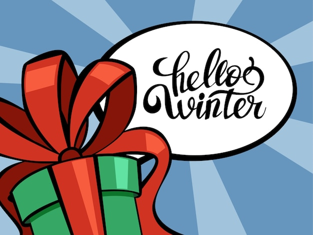 Cute funny merry xmas postcard decoration. greeting card hello winter for christmas decoration. beautiful  in pop art style.  illustration in cartoon style