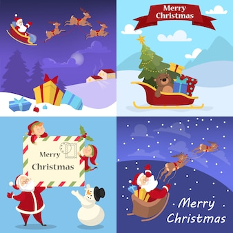 かわいい面白いメリークリスマスポストカード装飾セット。クリスマスの装飾のグリーティングカード。綺麗な 。漫画のスタイルのイラスト