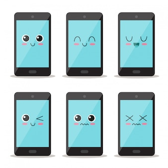 Cute and funny mobile phone set character