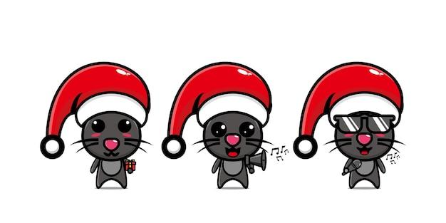 Милый забавный персонаж мыши празднует рождество вектор плоская линия каваи мультипликационный персонаж