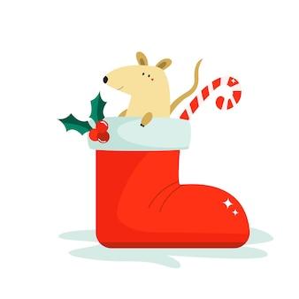 中国の旧正月のブーツでかわいい面白いマウス。ベクトルクリスマス休暇イラスト