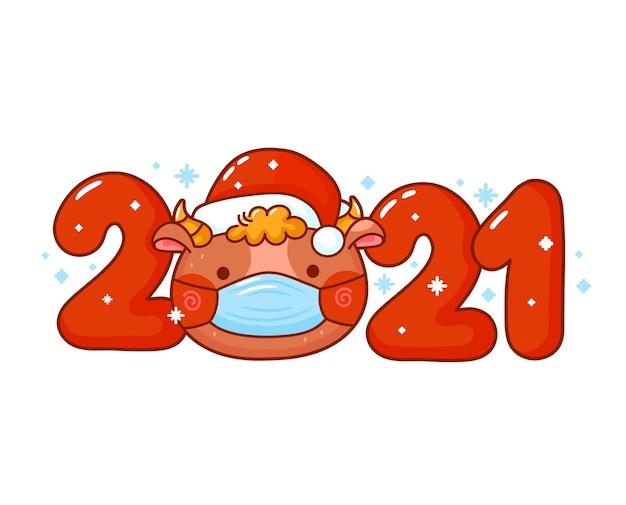 Милый забавный новогодний символ быка в рождественской шапке и маске.