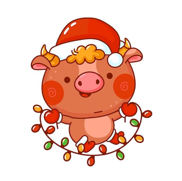 Милый забавный новогодний символ быка в рождественской шапке.