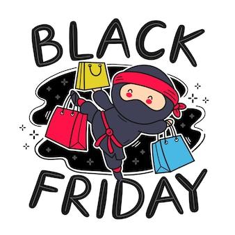 쇼핑백 문자로 귀여운 재미있는 닌자. 벡터 플랫 라인 만화 귀여운 캐릭터 그림 아이콘입니다. 외딴. 검은 금요일 판매 개념