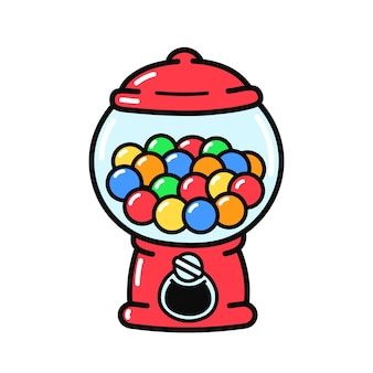 귀엽고 재미있는 구식 검볼 기계. 벡터 손으로 그린 만화 그림 아이콘입니다. 흰색 배경에 고립. 사탕, 풍선껌 디스펜서 기계 로고 개념