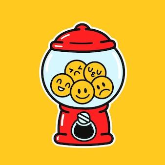 이모티콘 얼굴이 있는 귀엽고 재미있는 구식 검볼 기계. 벡터 손으로 그린 만화 그림 아이콘입니다. 사탕, 풍선껌 디스펜서 로고 개념