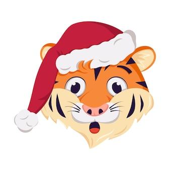 빨간 크리스마스 모자에 새해의 귀여운 웃기거나 웃는 호랑이 캐릭터 상징