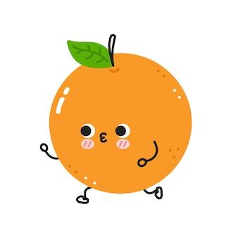 귀여운 재미 오렌지 조깅