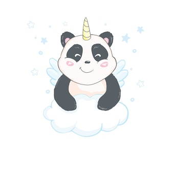 Cute and funny pandacorn sticker template