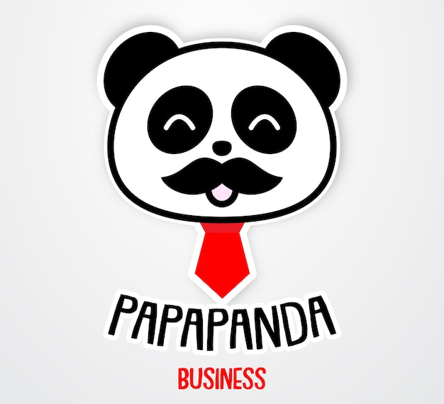 Cute and funny papa panda sticker template