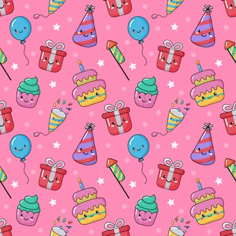 Cute funny party celebration seamless pattern. birthday carnival festive kawaii style