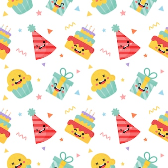 Cute funny party celebration seamless pattern